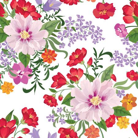 motif floral: Seamless floral. Fleur de fond. Seamless texture floral avec des fleurs. Épanouir papier peint carrelée