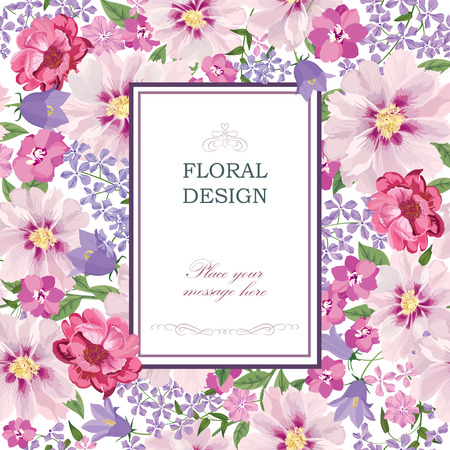 black and white frame: Floral background. Flower bouquet vintage cover. Flourish card with copy space. Illustration