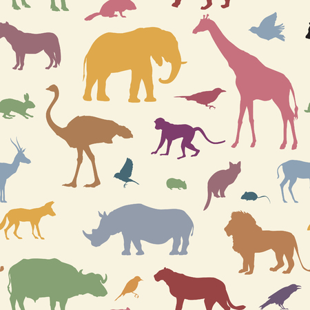 animal fauna: Animals silhouette seamless pattern. Wildlife tiled textured backgroun. African animals seamless pattern