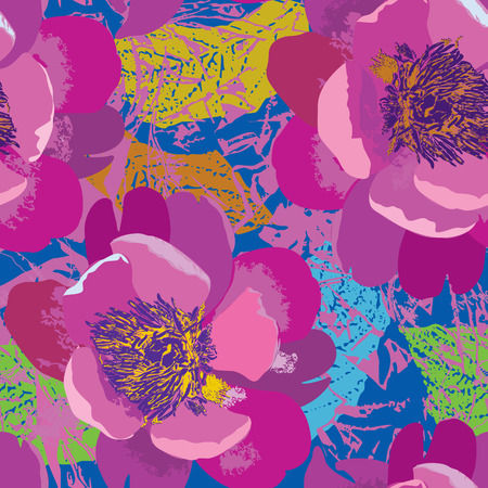 Floral seamless pattern. Flower background in 1960s pop-art style. Floral seamless texture with flowers.