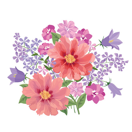 carnation: Flower bouquet. Floral frame. Flourish greeting card. Blooming flowers isolated on white background