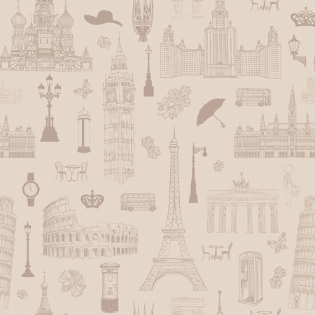 Travel seamless pattern. Vacation in Europe wallpaper. Travel to visit famous places of Europe background. Landmark tiled pattern.  イラスト・ベクター素材