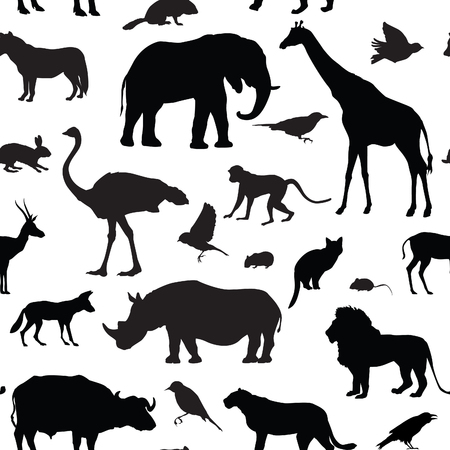 black and white image drawing: Animals silhouette seamless pattern. Wildlife tiled textured backgroun. African animals seamless pattern