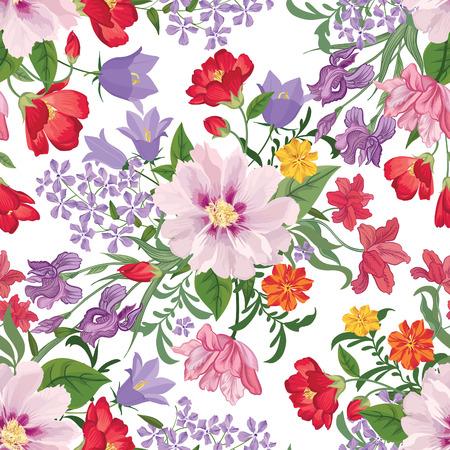 cartoline vittoriane: Seamless fiore sfondo floreale. Floral seamless texture di fiori. Flourish sfondi piastrelle Vettoriali