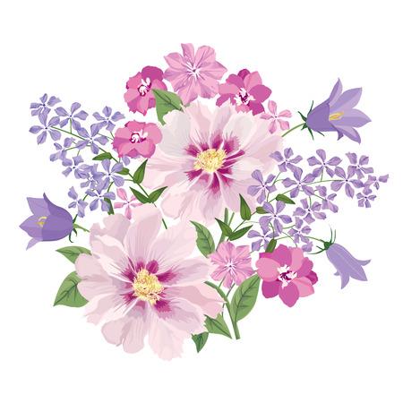 motif floral: Bouquet de fleurs. Floral frame. Épanouir carte de voeux. La floraison des fleurs isolé sur fond blanc