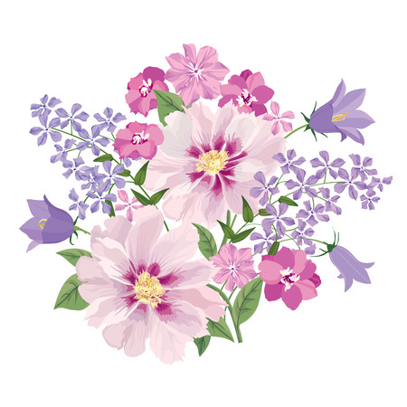 Flower bouquet. Floral frame. Flourish greeting card. Blooming flowers isolated on white background Stock Vector - 46073483