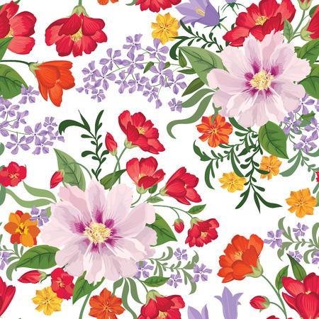 Bloemen naadloos patroon Bloem achtergrond. Bloemen naadloze textuur met bloemen. Floreren betegeld behang