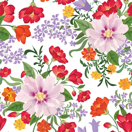 motif floral: Floral seamless pattern Flower background. Floral seamless texture with flowers. Flourish tiled wallpaper