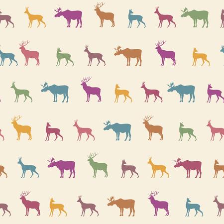動物: 動物のシルエットのシームレスなパターン。野生動物は、テクスチャの比較を並べて表示されます。シカ動物シームレス パターン。クリスマスのパターン。メリー  イラスト・ベクター素材