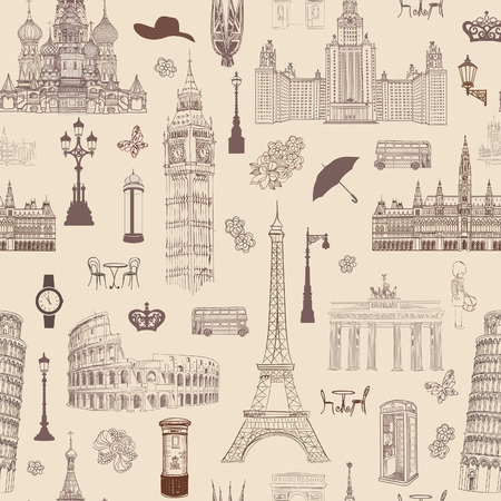 travel locations: Travel seamless pattern. Vacation in Europe wallpaper. Travel to visit famous places of Europe background. Landmark tiled pattern. Illustration