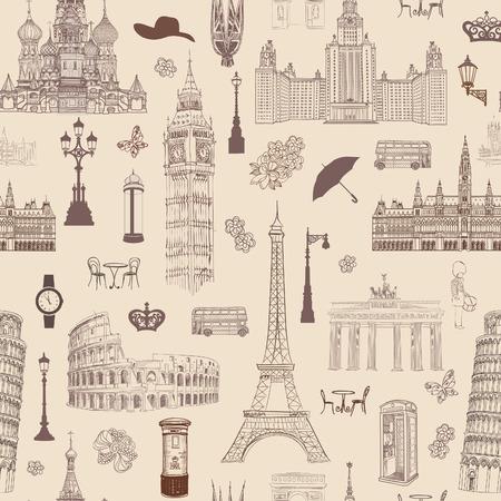 viagem: Viagem seamless pattern. F�rias na Europa wallpaper. Viajar para visitar lugares famosos da Europa de fundo. Padr�o telhado Landmark. Ilustração