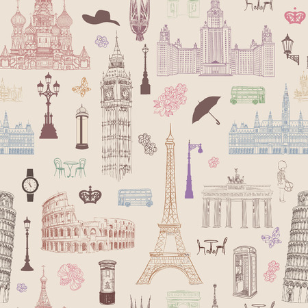 Travel seamless pattern. Vacation in Europe wallpaper. Travel to visit famous places of Europe background. Landmark tiled pattern. Stock Illustratie