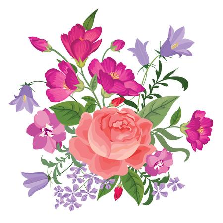 Ramo de la flor. Marco floral. Flourish tarjeta de felicitación. Blooming flores aisladas sobre fondo blanco
