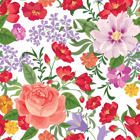 retro seamless pattern: Floral seamless pattern. Flower background. Floral seamless texture with flowers. Flourish tiled wallpaper