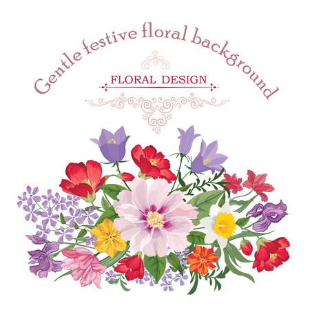 carnation: Floral frame with summer flowers. Floral bouquet with rose, narcissus, carnation, lilac and wildflower. Vintage Greeting Card with flowers. Watercolor flourish border. Floral background.