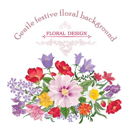 clavel: Marco floral con flores de verano. Bouquet floral con rosas, narcisos, clavel, lila y flores silvestres. Tarjeta de felicitación de la vendimia con las flores. Acuarela florecer frontera. Fondo floral.