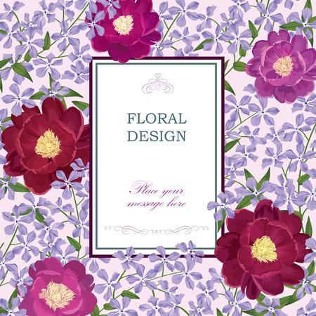 Floral background. Flower bouquet vintage cover. Flourish card with copy space. Illustration