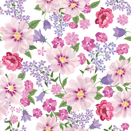 flower sketch: Floral seamless pattern. Flower background. Floral tile spring texture with flowers. Illustration