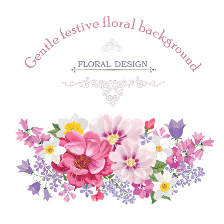 mazzo di fiori: Cornice floreale con fiori estivi. Floreale con rosa, narciso, garofano, lilla e fiori selvatici. Cartolina d'auguri con i fiori. Acquerello fiorire confine. Floral background. Vettoriali