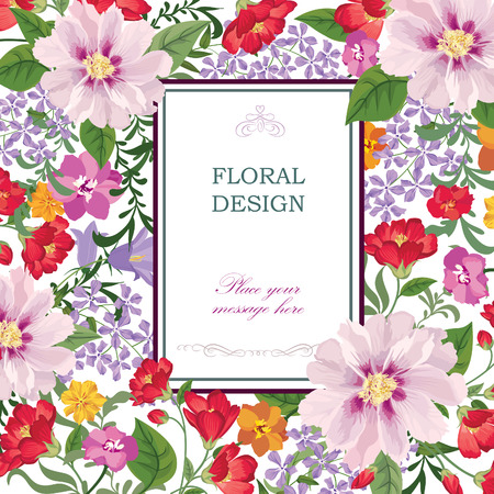 Floral background. Flower bouquet vintage cover. Flourish card with copy space. Çizim