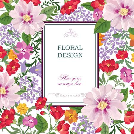 background floral: Floral background. Flower bouquet vintage cover. Flourish card with copy space. Illustration