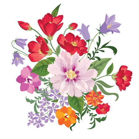 花の花束。花のフレーム。グリーティング カードの頭角を現します。白い背景に分離された花が咲く