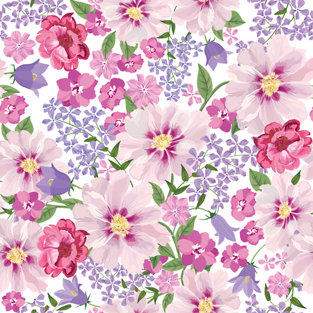 Floral seamless pattern. Flower background. Floral seamless texture with flowers. Flourish tiled wallpaper 版權商用圖片 - 46073596