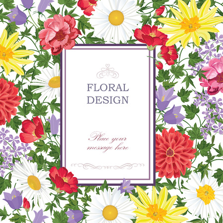 Floral background. Flower bouquet vintage cover. Flourish summer festive card with copy space. 向量圖像