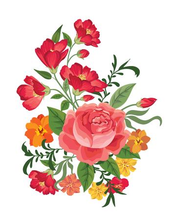 Bouquet di fiori. Cornice floreale. Biglietto di auguri fiorire. Fiori di fioritura isolato su sfondo bianco Archivio Fotografico - 46921925