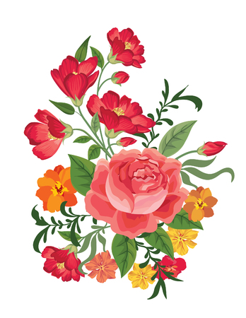 jardines con flores: Ramo de la flor. Marco floral. Flourish tarjeta de felicitaci�n. Blooming flores aisladas sobre fondo blanco Vectores