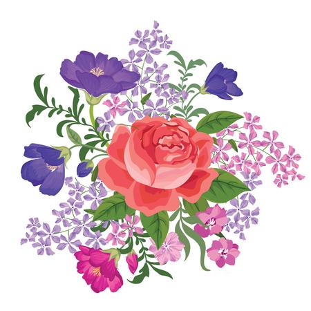 anniversario matrimonio: Bouquet di fiori. Cornice floreale. Biglietto di auguri fiorire. Fiori di fioritura isolato su sfondo bianco