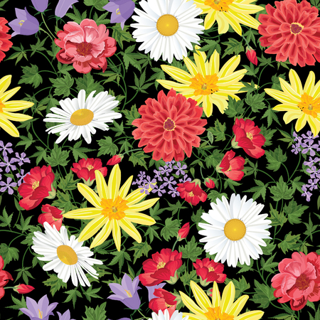 daisies: Floral seamless pattern Flower background. Floral seamless texture with flowers. Flourish tiled wallpaper