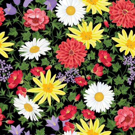 marguerite: Floral seamless pattern Flower background. Seamless texture floral avec des fleurs. Épanouir papier peint carrelée Illustration