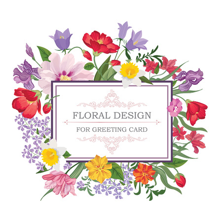 summer border: Floral frame with summer flowers. Floral bouquet pattern. Vintage Greeting Card with flowers. Watercolor flourish border. Floral background.