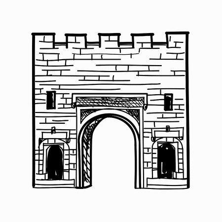 old style: Arch gates in fortress wall Doorway to town castle Architectural draft