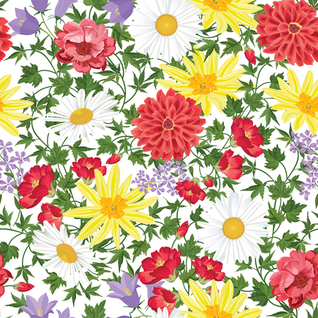 floral bouquet: Floral seamless pattern Flower background. Floral seamless texture with flowers. Flourish tiled wallpaper