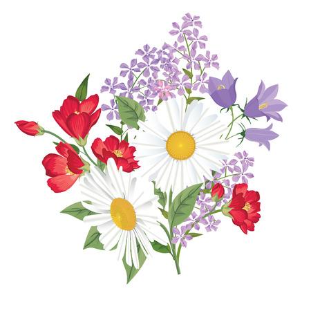 Ramo de la flor. Marco floral. Flourish tarjeta de felicitación. Blooming flores aisladas sobre fondo blanco Ilustración de vector
