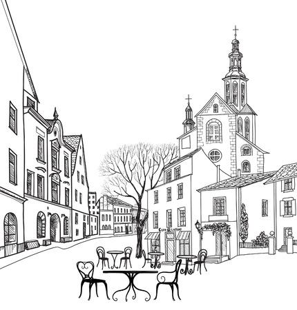 Café de la calle en la ciudad vieja. Paisaje urbano - casas, edificios y árboles en callejón. Vista antigua de la ciudad. Medieval paisaje castillo europeo. Lápiz dibujado dibujo vectorial Foto de archivo - 46921940