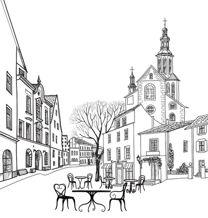 silueta humana: Café de la calle en la ciudad vieja. Paisaje urbano - casas, edificios y árboles en callejón. Vista antigua de la ciudad. Medieval paisaje castillo europeo. Lápiz dibujado dibujo vectorial