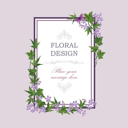 fiori di campo: Cornice floreale con fiori estivi. bouquet floreale con fiori di campo lilla. Cartolina d'auguri con i fiori. Acquerello fiorire confine. Sfondo floreale.
