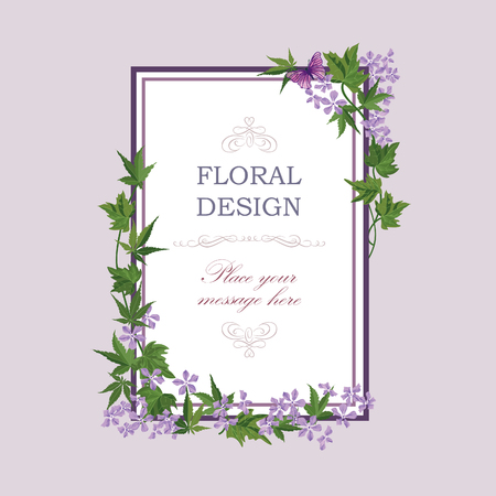 Floral frame with summer flowers. Floral bouquet with lilac wildflower. Vintage Greeting Card with flowers. Watercolor flourish border. Floral background. Illustration