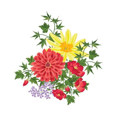 ramo de flores: Ramo de la flor. Marco floral. Flourish tarjeta de felicitaci�n. Blooming flores aisladas sobre fondo blanco Vectores
