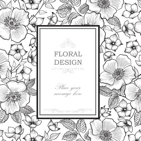 bouquet fleur: Floral frame avec des fleurs d'�t�. Motif de bouquet floral. Carte de voeux de cru avec des fleurs. Aquarelle fleurir fronti�re. Floral background. Illustration
