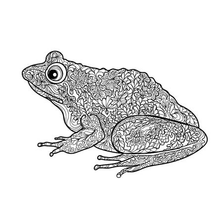 rana: Rana aislada. Ilustración blanco y negro rana garabato ornamental con zentangle ornamento decorativo Vectores