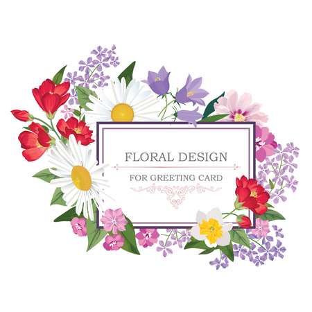 Floral frame avec des fleurs d'été. Motif de bouquet floral. Carte de voeux de cru avec des fleurs. Aquarelle fleurir frontière. Floral background. Banque d'images - 46921961