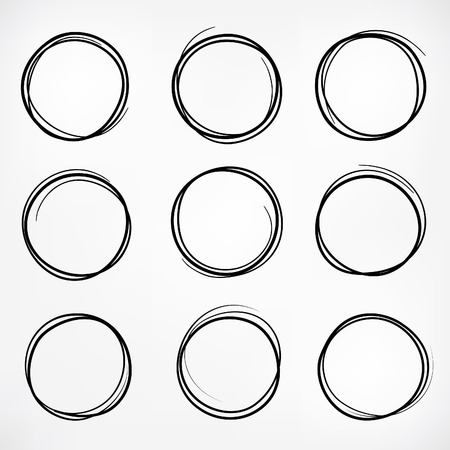 Grunge round shape set of scribble circles, hand drawn doodle sketch design elements