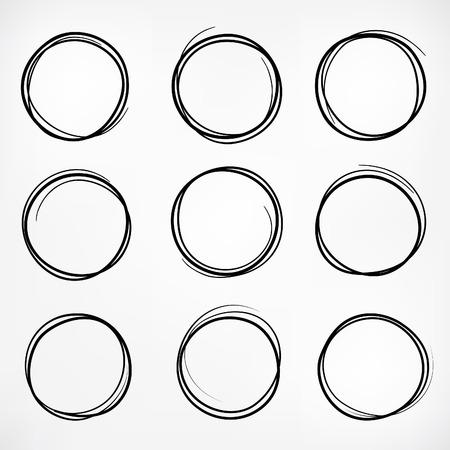 pencil sketch: Grunge round shape set of scribble circles, hand drawn doodle sketch design elements