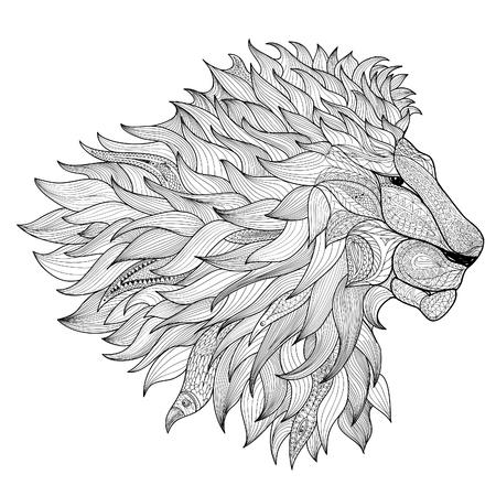 lijntekening: Leeuw geïsoleerd. Dierlijke zentangle hand getrokken illustratie