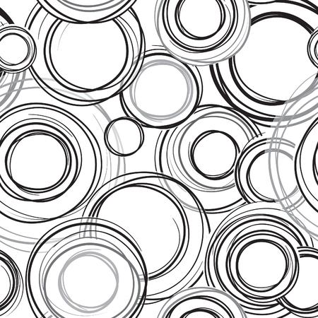 arcs: Abstract geometric doodl seamless pattern. Grange bubble ornamental background. Circles. Abstract seamless background wth sribble rings