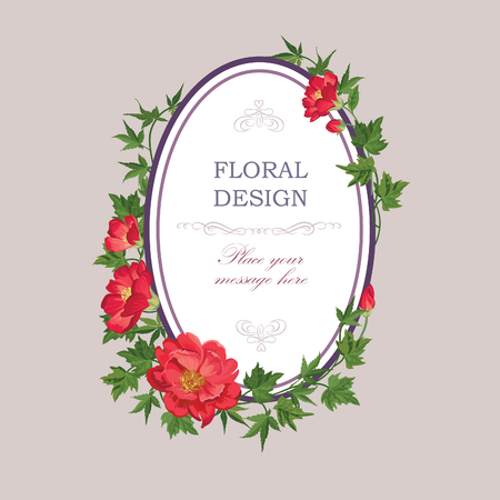 red floral: Floral frame with summer flowers. Floral bouquet pattern. Vintage Greeting Card with flowers. Watercolor flourish border. Floral background.